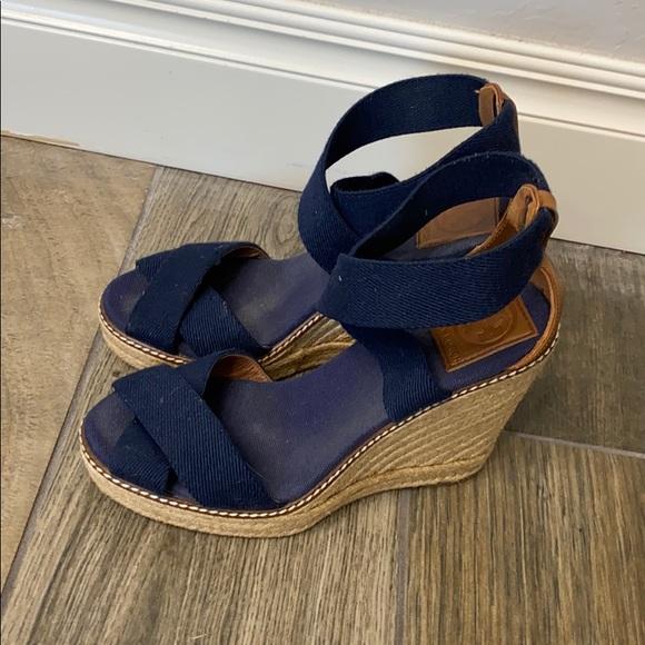 Tory Burch blue espadrille wedge sandals size 7.5B